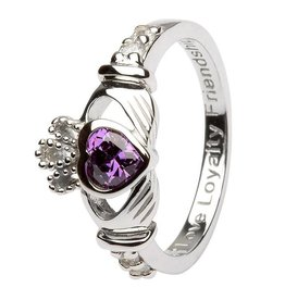 Shanore February Birthstone Claddagh Ring