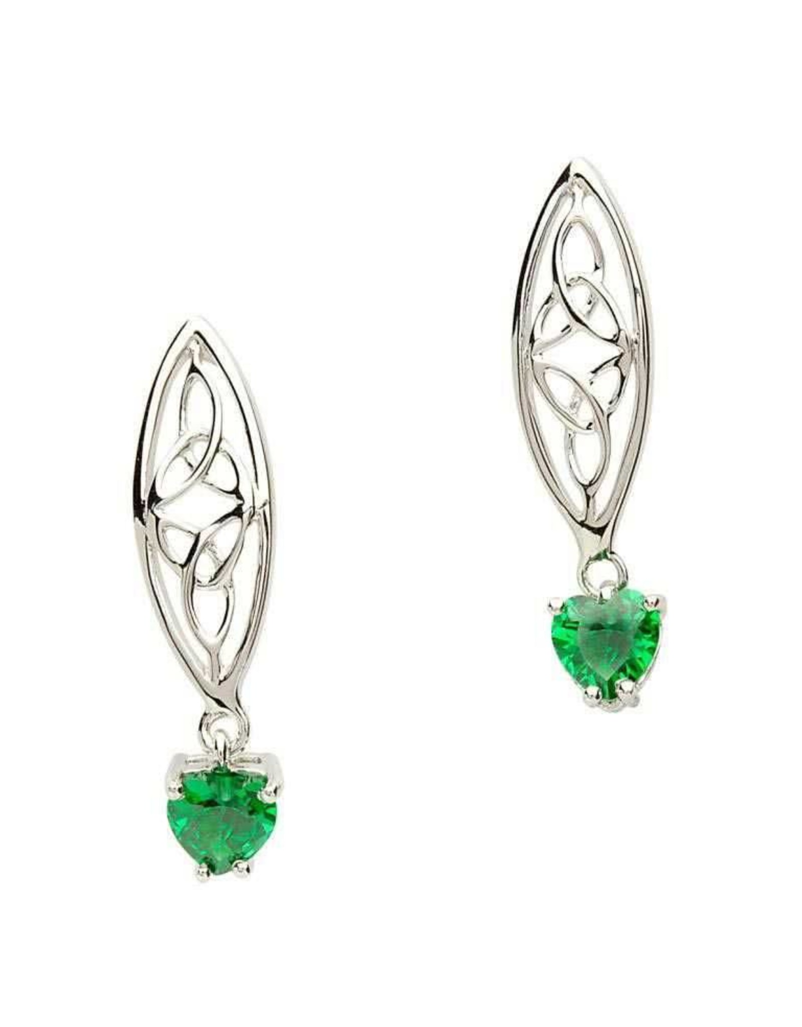 Shanore SIlver Double Trinity Earrings with Green Hearts