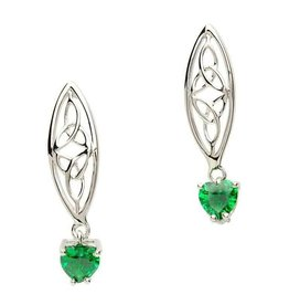 Shanore Silver Trinity Earrings with Green Hearts