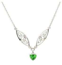 Shanore Silver Trinity Green Heart Necklace