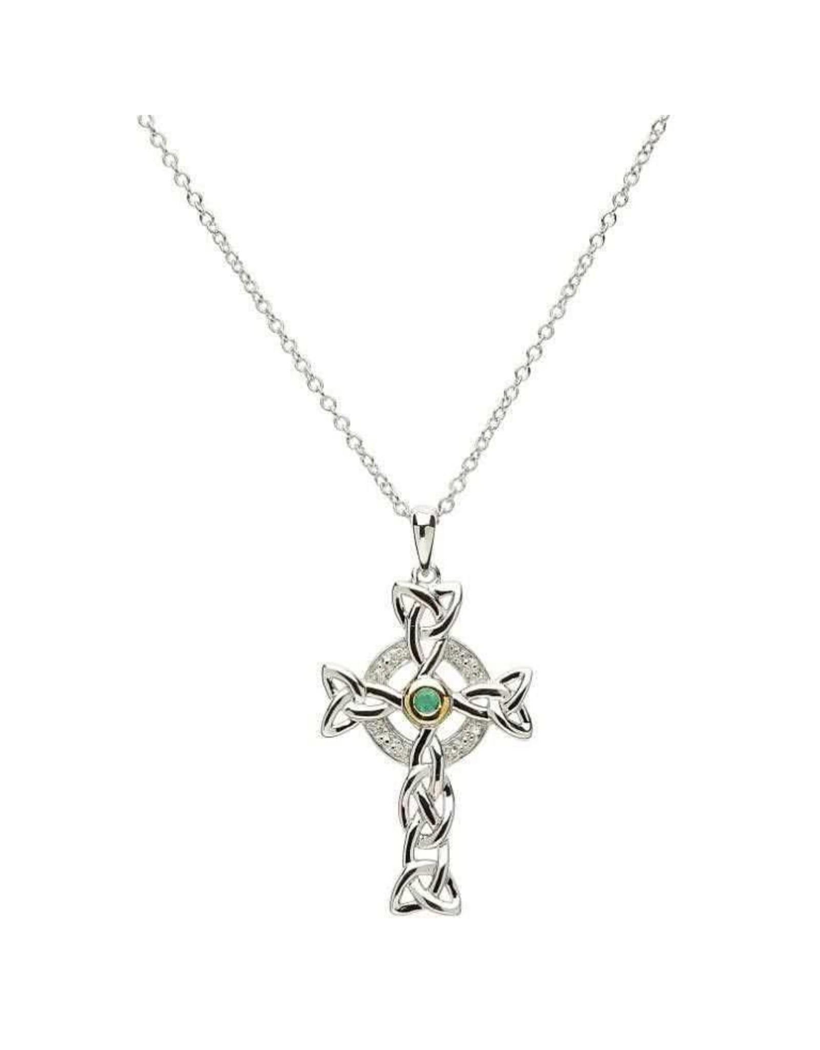 Shanore Diamond & Emerald Silver Cross Necklace