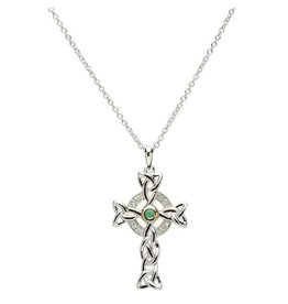 Shanore Diamond & Emerald Silver Cross Necklace