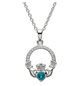 Shanore December Birthstone w/Swarovski Claddagh Necklace