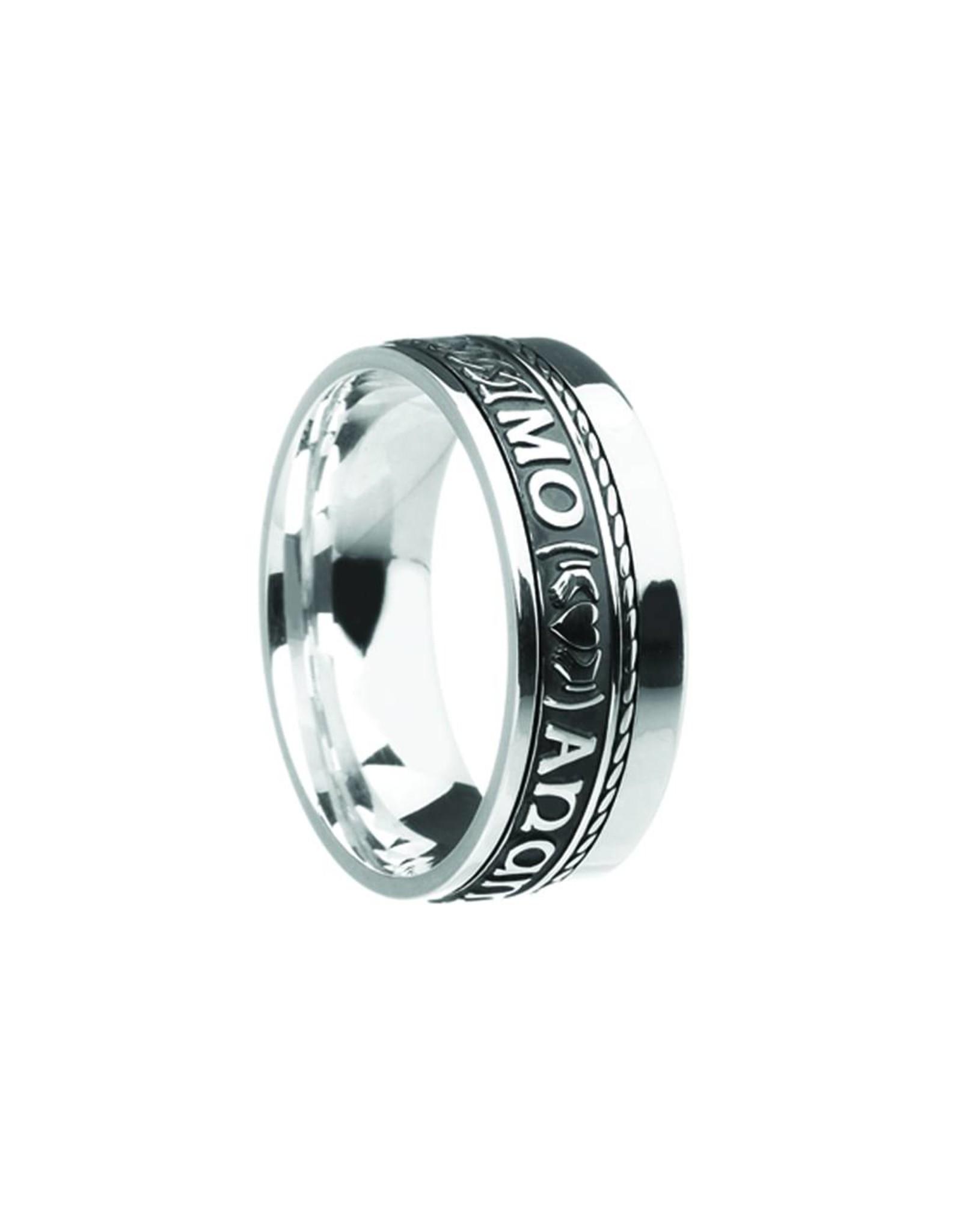 "Boru Jewelry Comfort Fit Mo Anam Cara ""Soul Mate"" Ring with Single Rail"