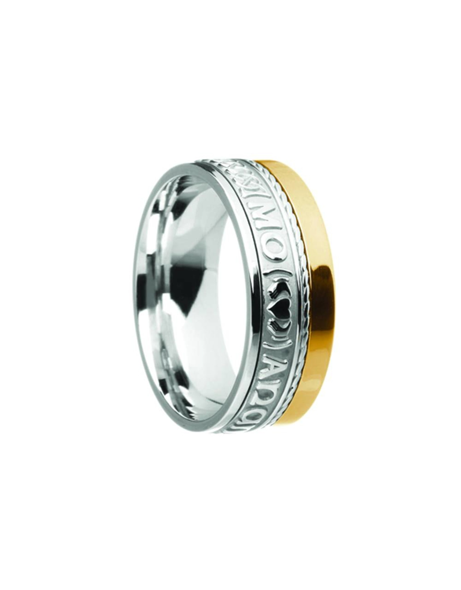"Boru Jewelry Comfort Fit Mo Anam Cara ""Soul Mate"" Ring with Single Rail"