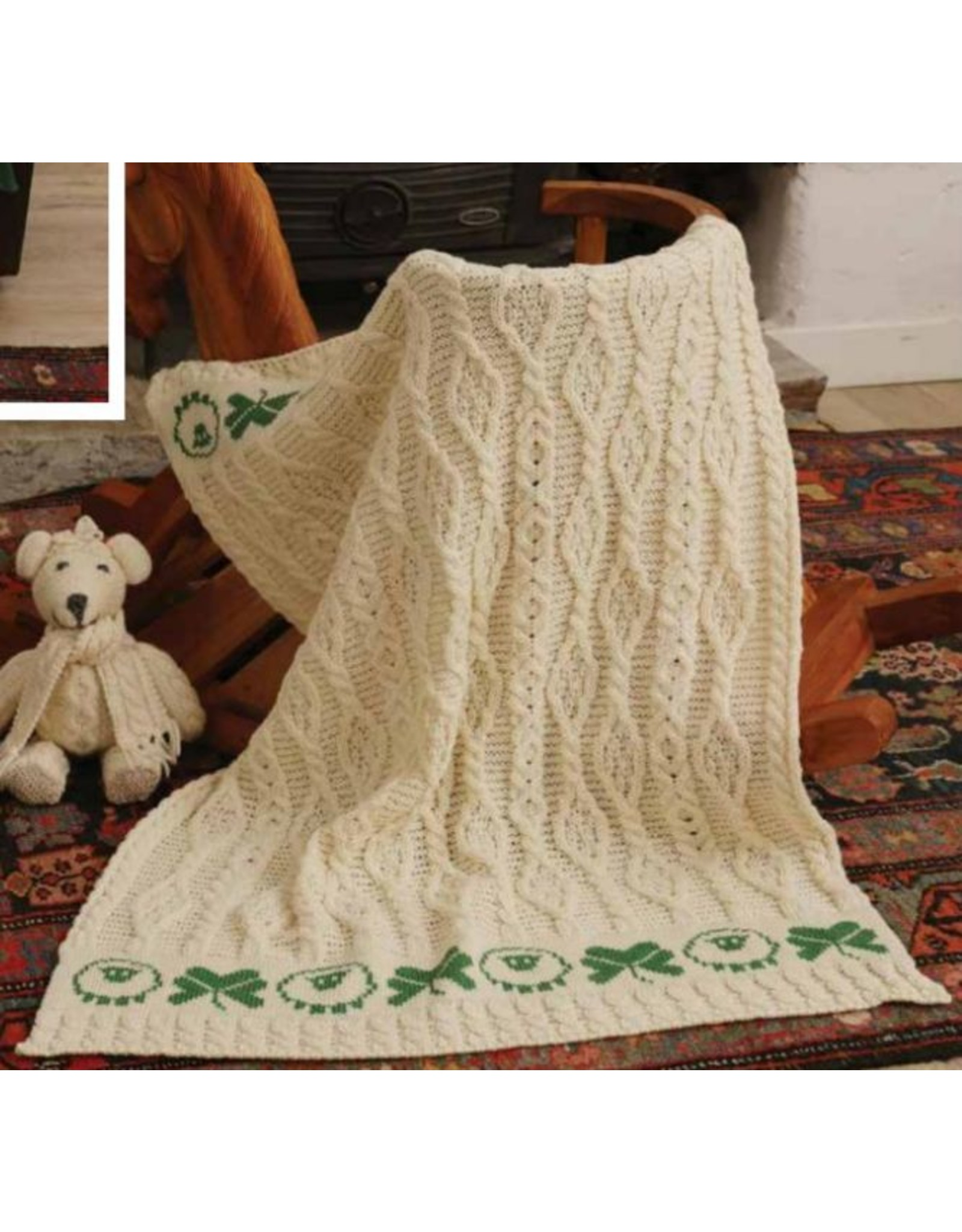 Aran Woollen Mills Sheep & Shamrock Aran Baby Blanket