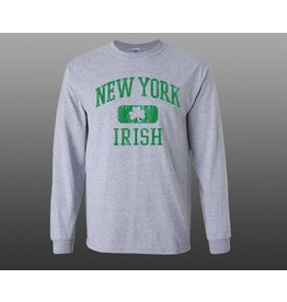 Coastal Tees New York Shamrock Grey Long-sleeve Shirt