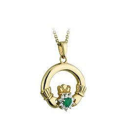 Solvar 10k Stone Set Claddagh with Agate