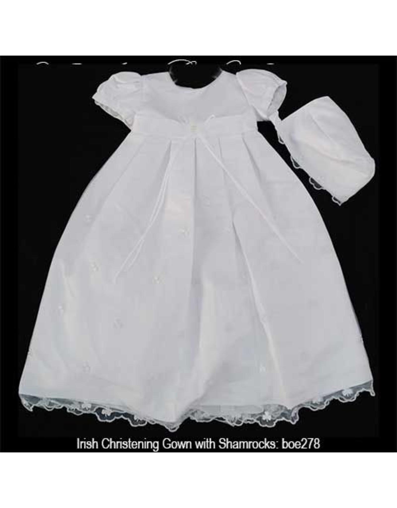 Bridgets of Erin Christening Gown w/Shamrocks