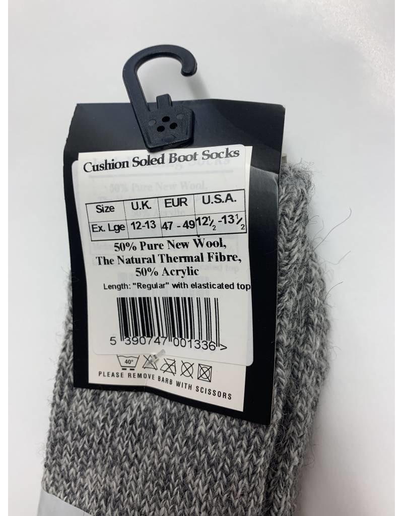 Connemara Socks Grey Wool Cushioned Boot Socks