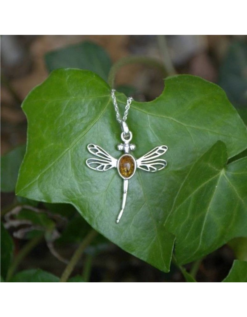 Hamilton & Young Outlander Inspired Dragonfly Pendant with Amber