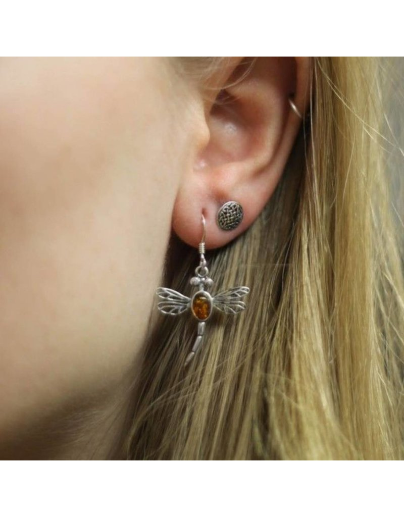 Hamilton & Young Outlander Inspired Dragonfly Silver Drop Earrings with Amber