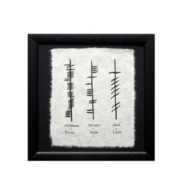 Ogham Wishes Framed Ogham Triple: Faith Hope Love
