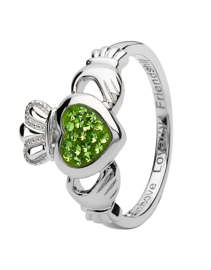 Shanore Claddagh Ring Encrusted With Peridot Swarovski Crystals