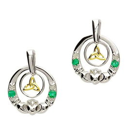 Shanore Claddagh Silver Emerald and  Diamond Earrings
