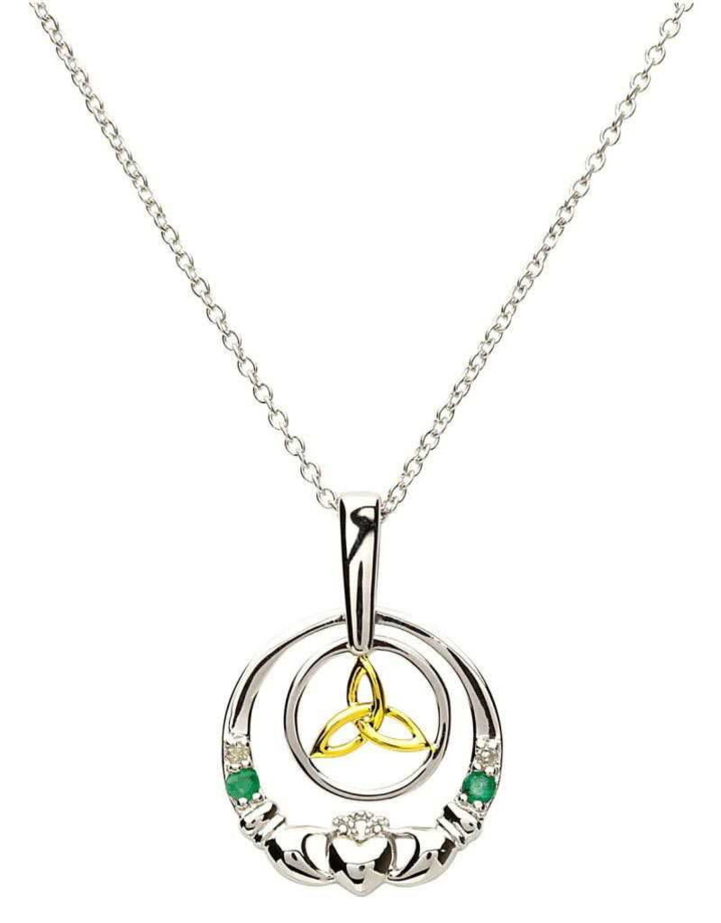 Shanore Claddagh Silver Emerald Diamond Necklace