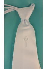 Simply Charming Boys White Tie with Celtic Cross