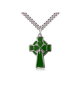 "Bliss SS Green Celtic Cross/Shamrock 24"" Chain"