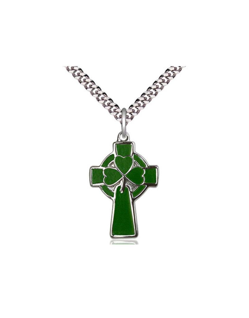 "Bliss SS Green Celtic Cross/Shamrock 24"" Chain"