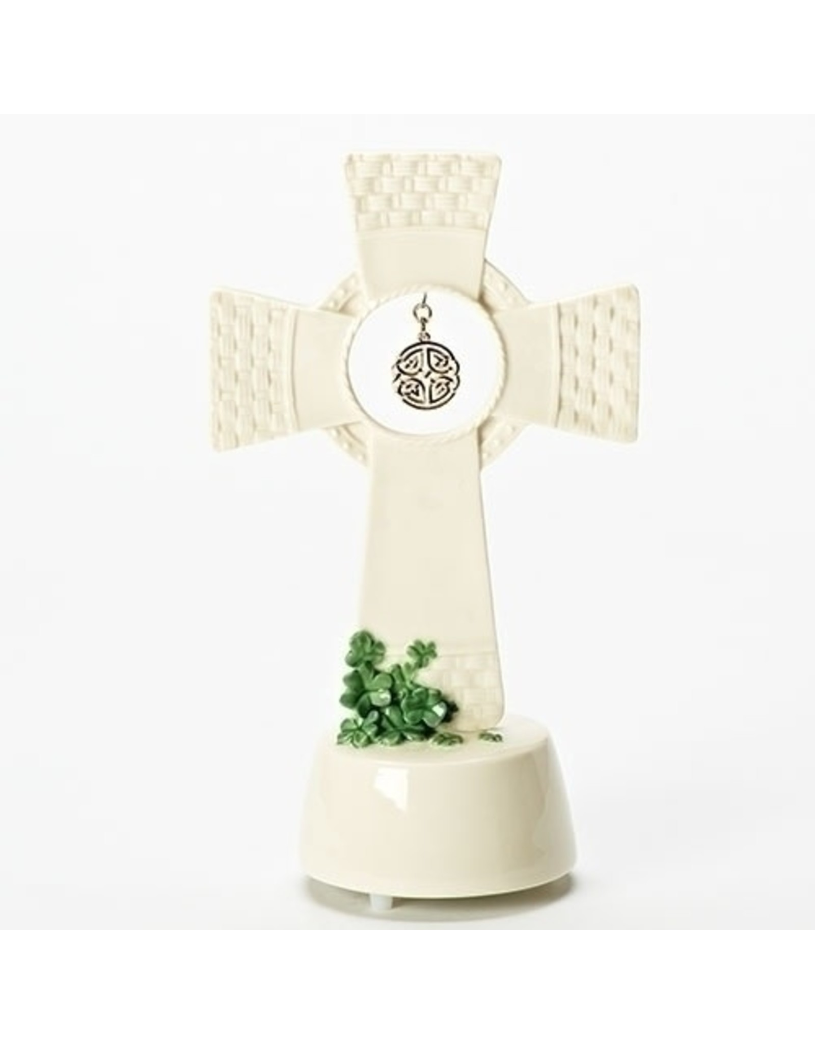 "Roman Shamrock Basketweave 8.5"" Standing Cross with Hanging Knot"