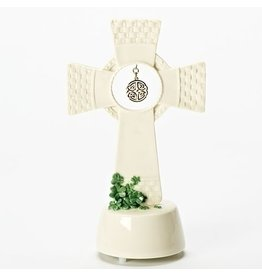 Roman Shamrock Basketweave Standing Cross