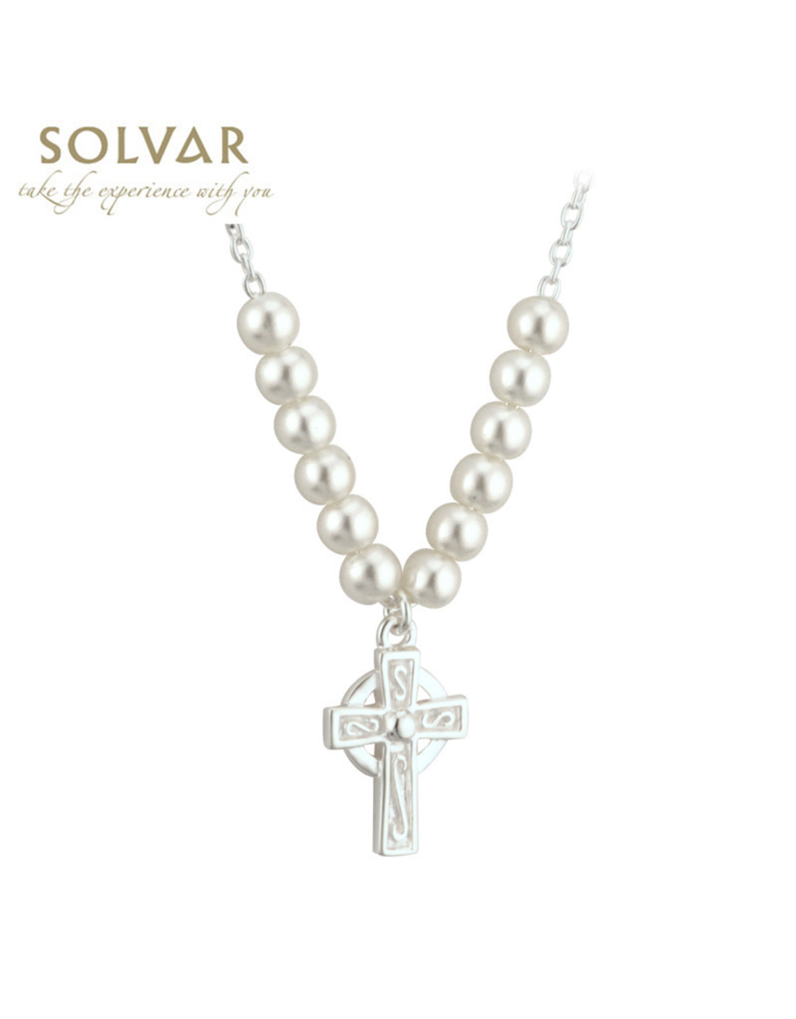 Solvar Little Tara Pearl Necklace with Celtic Cross