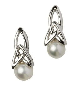 Shanore Silver Trinity Pearl Earrings