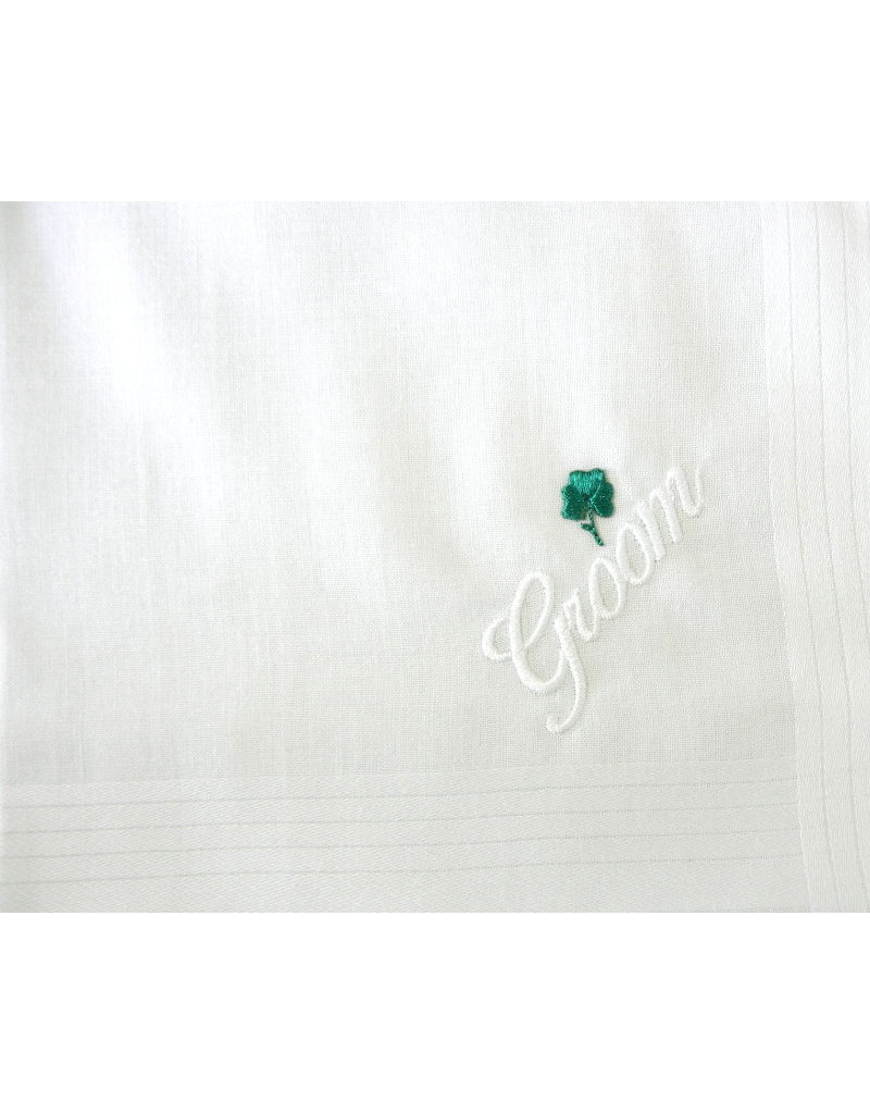 Simply Charming Embroidered Hankie w/Green Shamrock: Groom