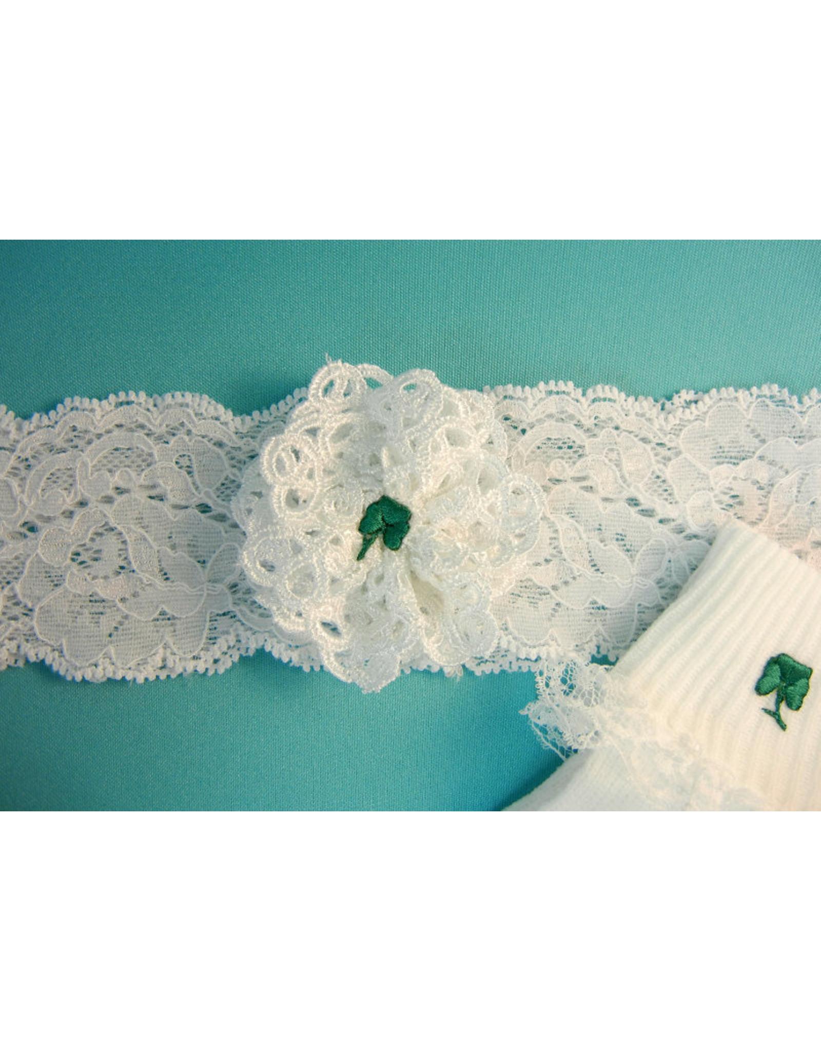 Simply Charming Baby Headband White w/Green Shamrock