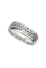 Solvar Silver Oxidized Mens Trinity Knot Band