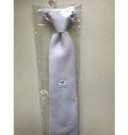 Corinne Boys White Tie with White Shamrock