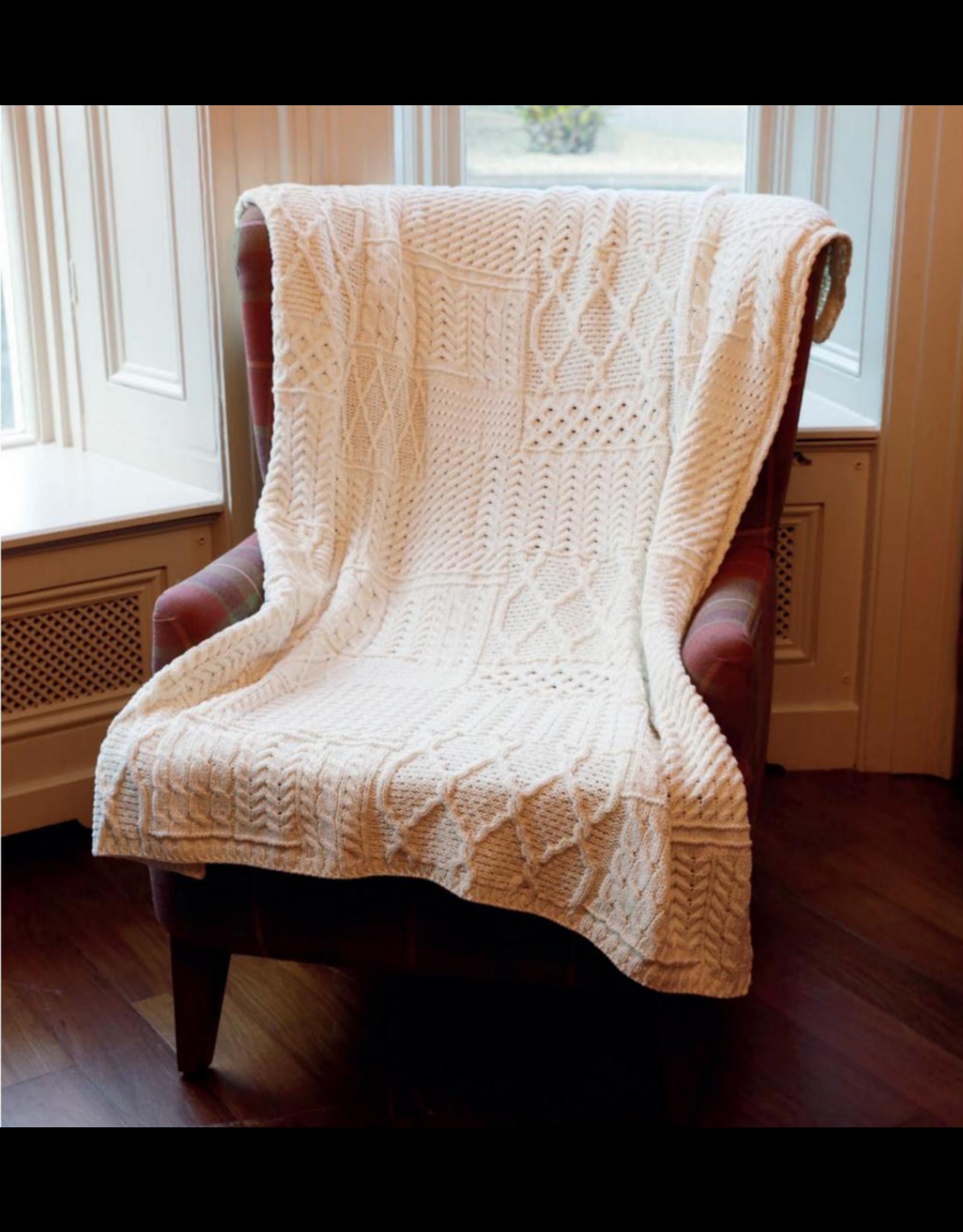 Aran Woollen Mills Aran Patchwork Throw Blanket