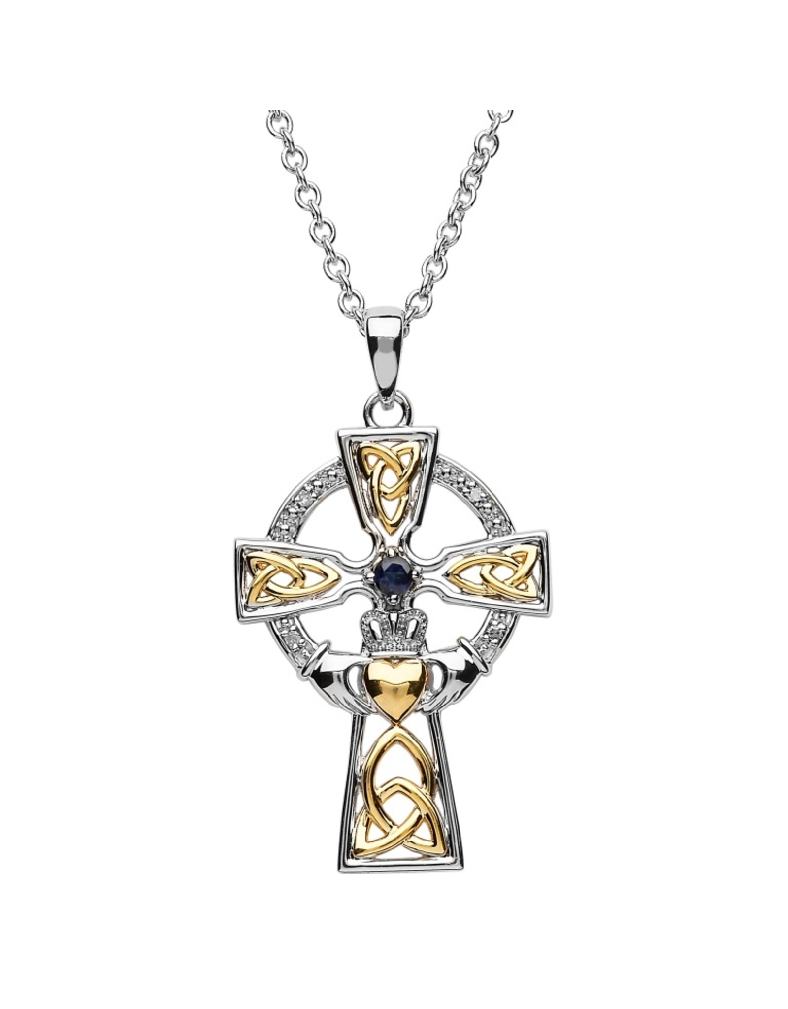Shanore Two Tone Sapphire + Diamond Celtic Cross