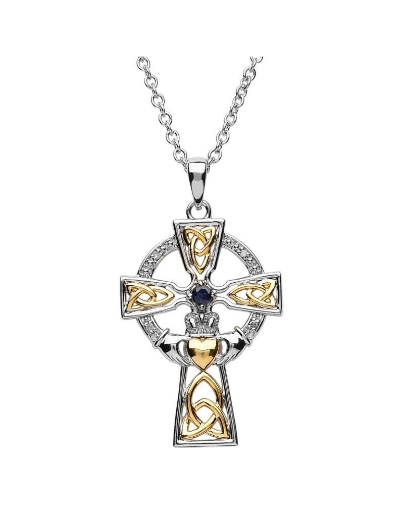 Shanore Two Tone Sapphire + Diamond Celtic Cross