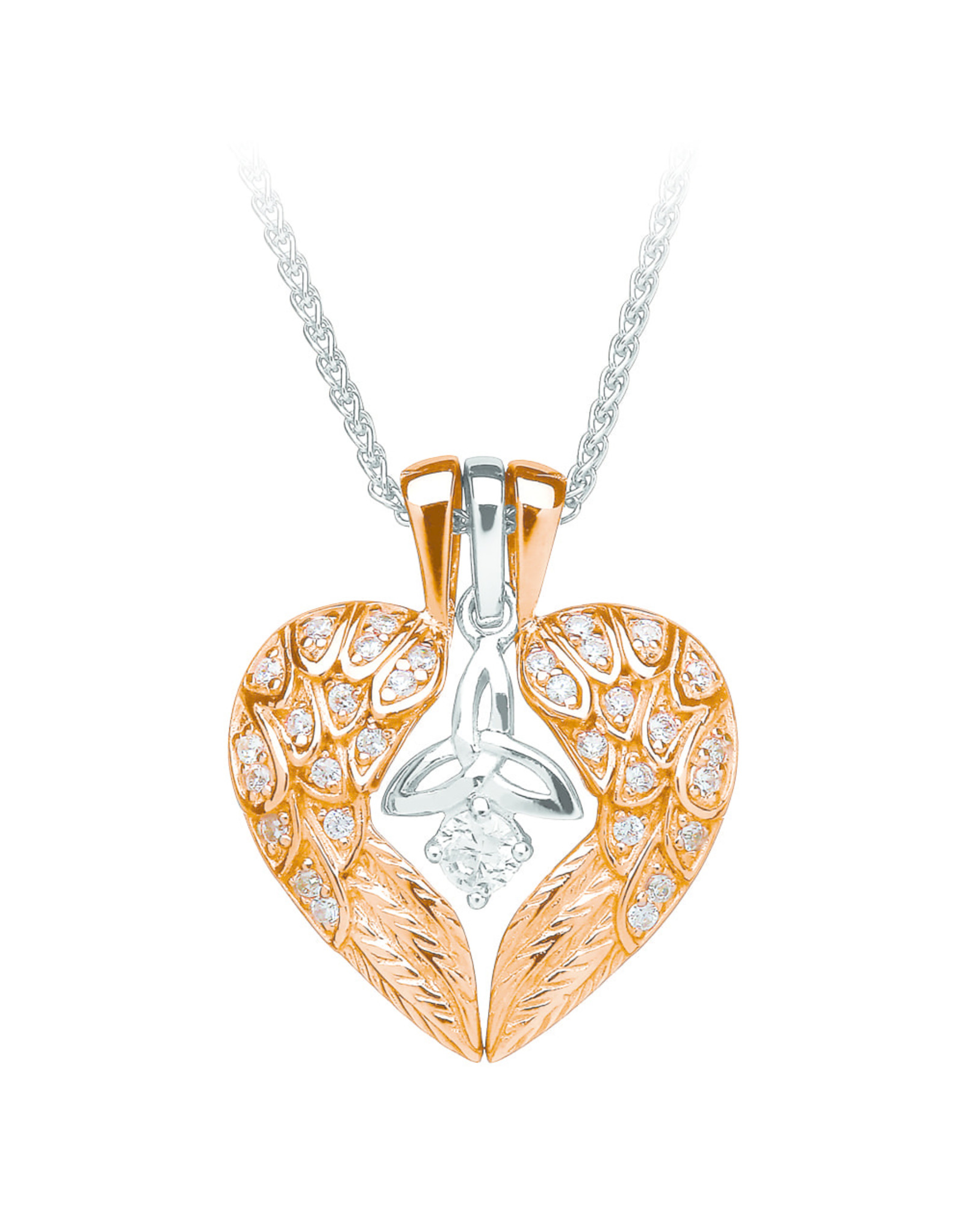 Boru Jewelry Rose Gold + Silver Trinity Knot Angels Wings Necklace