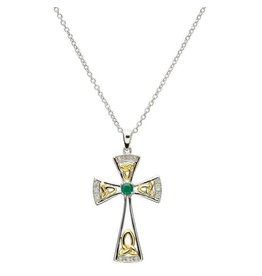 Shanore Celtic Trinity Diamond & Emerald Cross