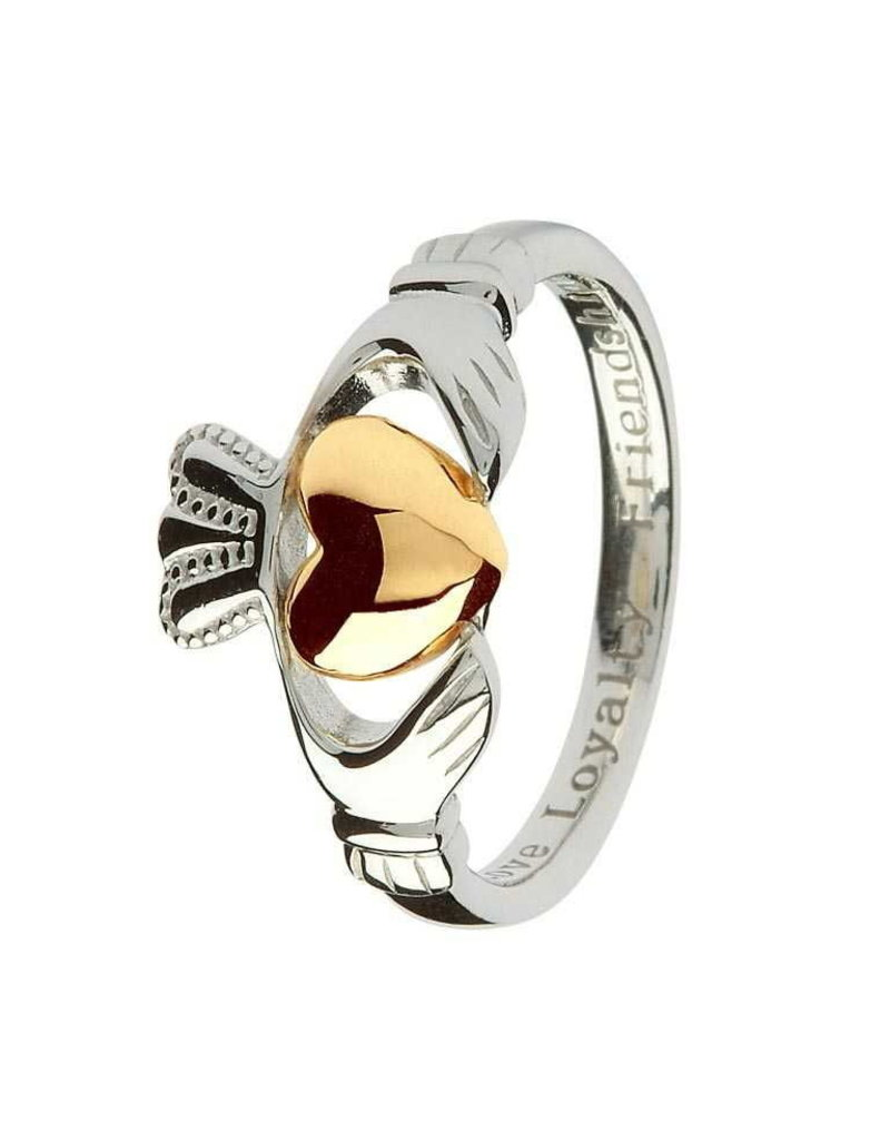 Shanore Silver + 10k Gold Two-tone Claddagh Ring