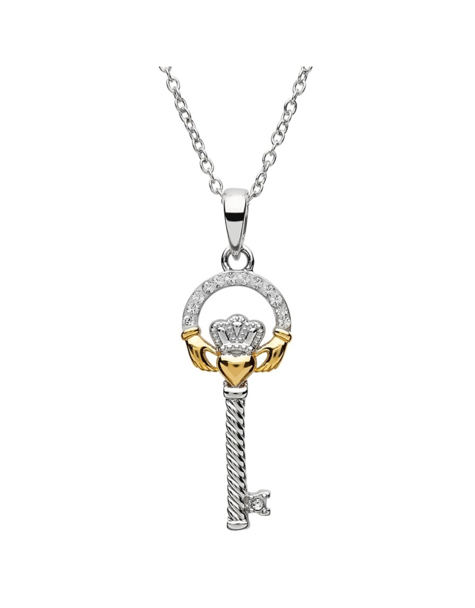 Shanore Two Tone Claddagh Key Necklace w/ Swarovski