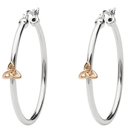 Shanore SS Rose Trinity Hoop Earrings