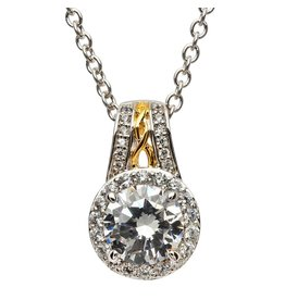 Shanore Silver CZ Halo Necklace
