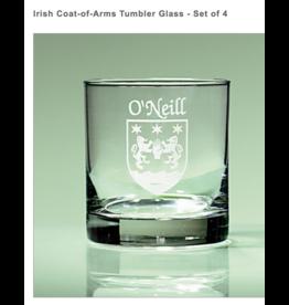 Sexton Company Custom Coat of Arms Tumbler Glasses Set of 4