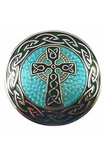 Timeless Irish Treasure Enamel Brooch:  Round Celtic Cross
