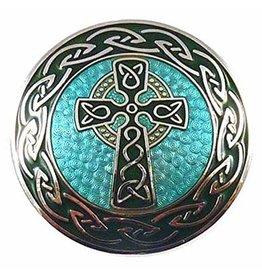Timeless Irish Treasure Enamel Brooch:  Round Celtic Cross