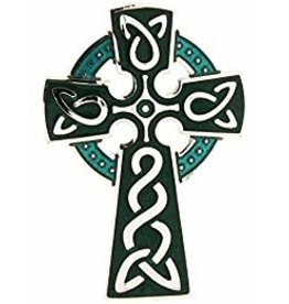 Timeless Irish Treasure Enamel Brooch:  Celtic Cross Blue