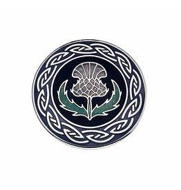 Timeless Irish Treasure Enamel Brooch:  Large Thistle