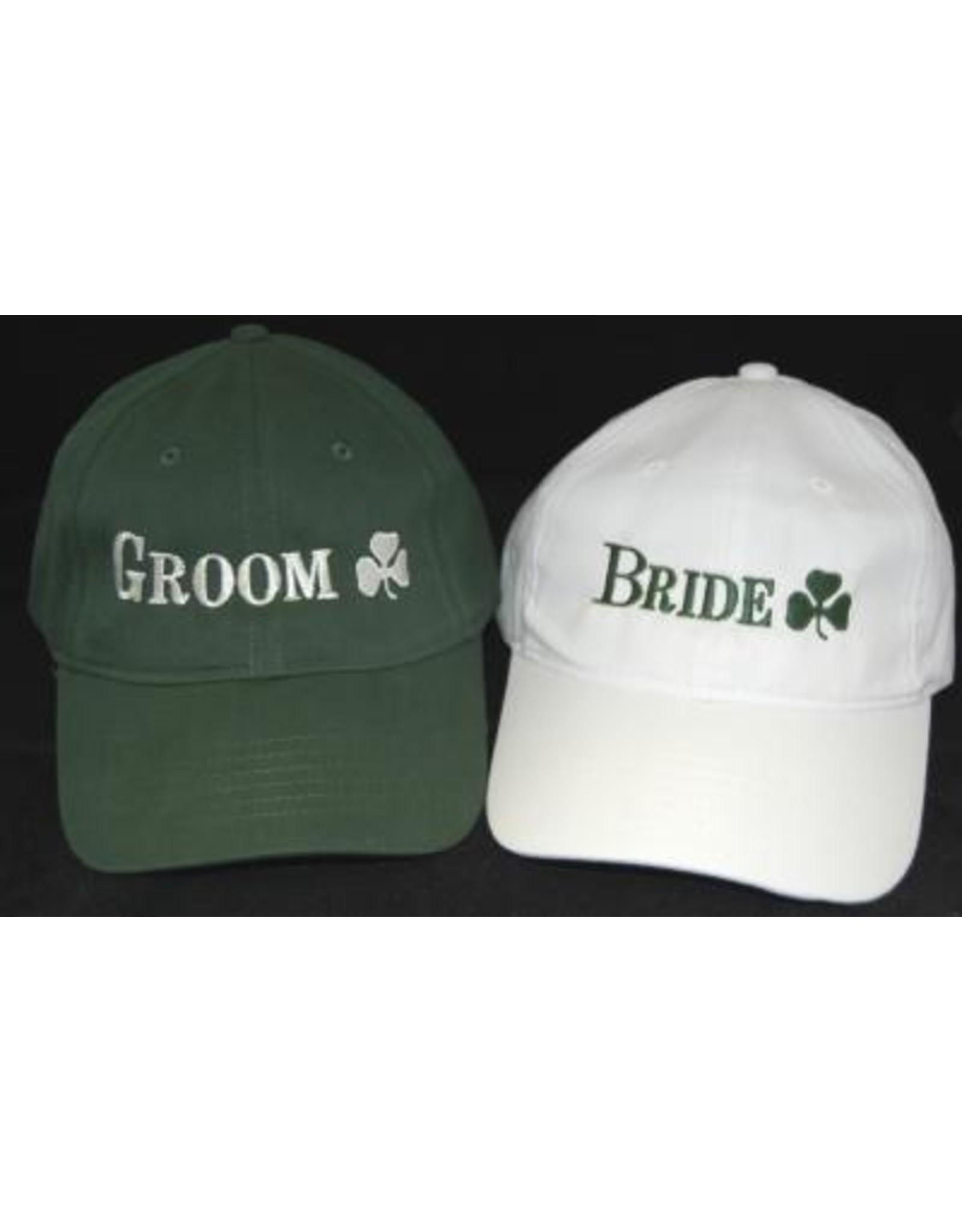 Bridgets of Erin Bride White Baseball Cap with Shamrock