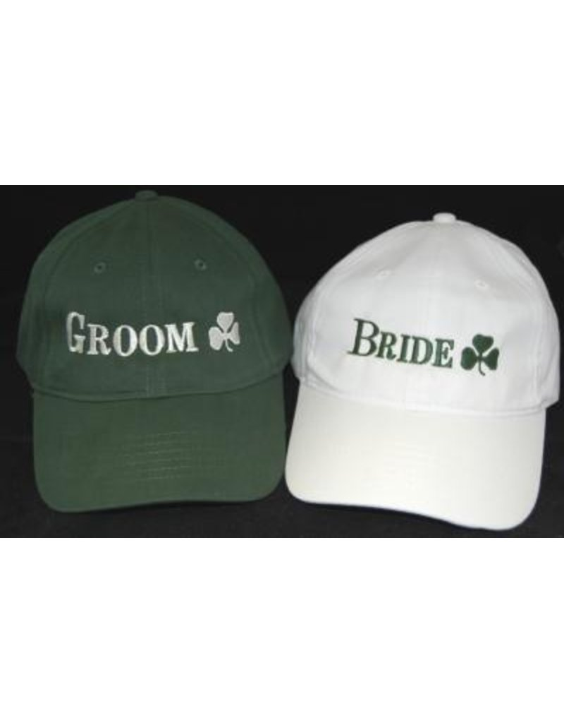 Bridgets of Erin Bride White Baseball Cap with Shamrock