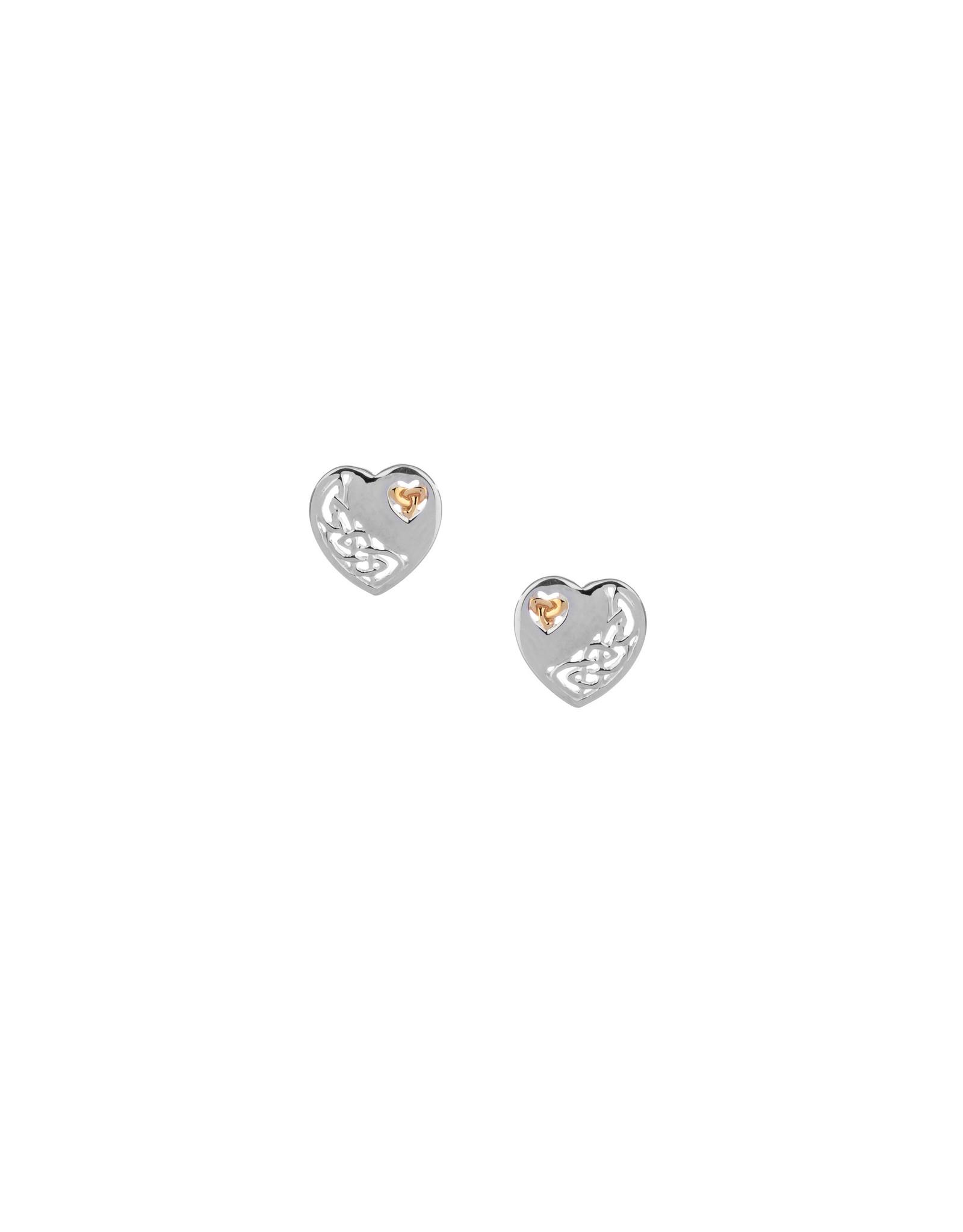 Keith Jack Sterling Silver + 10k Heart Earrings