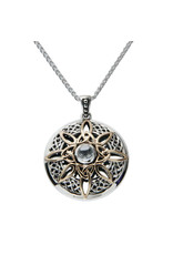 Keith Jack Sterling Silver + 10k White Topaz Compass Necklace