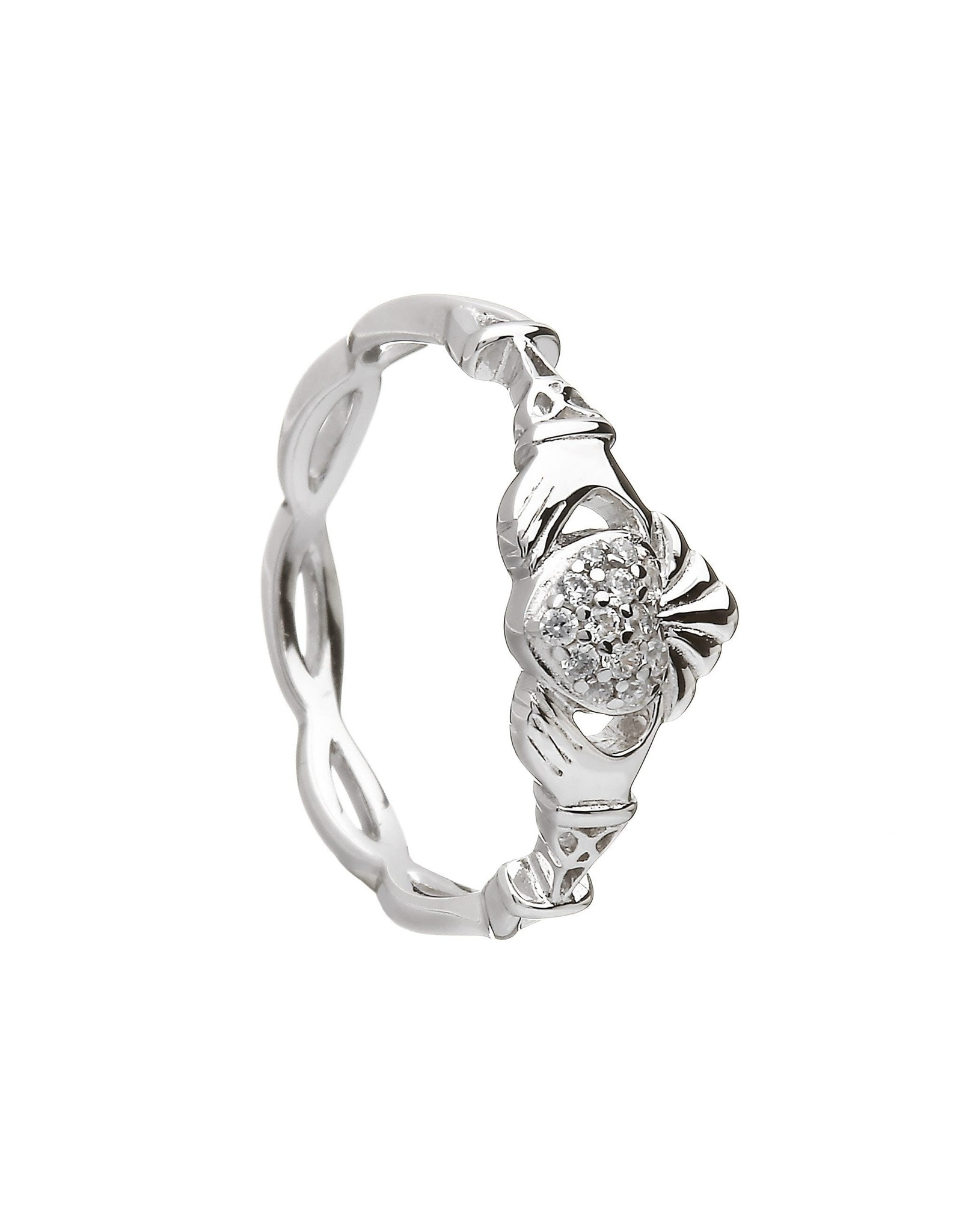 Boru Jewelry Sterling Silver Pave Set Claddagh Ring